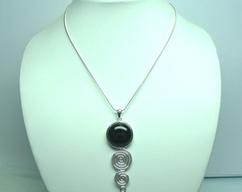 Black Agate Pandent, Curved pandent, hand made pandent