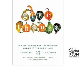 Thanksgiving Invitation / Turkey Invitation / Pumpkin Invitation / Harvest Invitation / Fall Invitation / Autumn Invite /