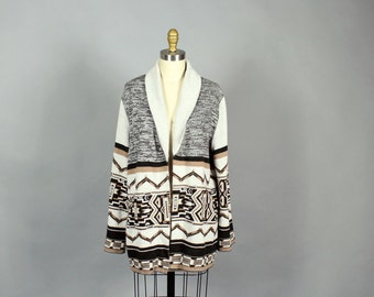 1970s cardigan . space dye and aztec pattern knit cardigan with open front . mens unisex southwest spacedye cardigan s m l