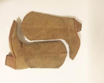 Vtg 70s SUEDE COWBOY BOOTS // Stitch detail// Ladies 7