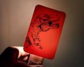 Tyrannosaurus Rex Nightlight on Red T-rex dinosaur Fused Glass Night Light - Gift for boy child kid - prehistoric jurassic Dino