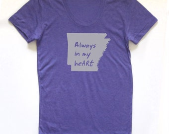 arkansas shirt, arkansas tshirt, graphic t, state pride, woman fashion t, indigo tshirt, screen print, silkscreen, free shipping