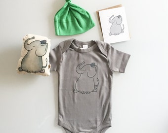 Lucky Elephant Gift Set, baby shower present, christmas infant gift, cute elephant set includes handmade elephant plush, romper, hat, card