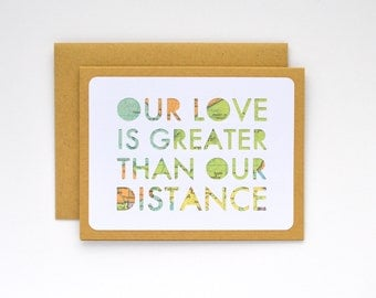Long Distance Relationship Card, Long Distance Love, Military Deployment Separation Card, I Love You Card for Boyfriend