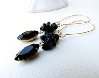 Onyx Vintage glass Drop Earrings by Skippingstones-FREE US SHIPPING!