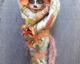 Sugar Skull art doll, Dia de los Muertos, Ooak art doll, Day of the Dead, Fall colors, wall decor, Griselda Tello, Original dolls