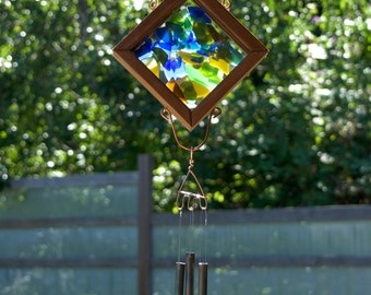 Wind Chime Stained Glass Outdoor Colorful Windchimes