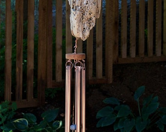 Wind Chime Driftwood with Large Copper Chimes windchimes wind chimes