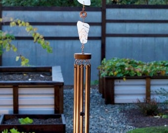 Wind Chimes Beach Glass and Copper with Large Chimes