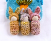 Bunnies in a pouch set wood peg doll bunnies felted bag ready to ship