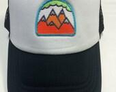 Toddler/Kids Trucker Hat- Neon 5 Mountain Patch- Black/...