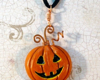 Jack-o-lantern Halloween pendant polymer clay TDozier