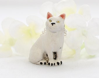 White Cat Pendant Kitty Necklace Captain Fluffy  - Cat Necklace - Cat Jewelry - Cat Lover Jewelry - Cute Cat -Cat Lady Gift - Cat Lover Gift