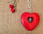 Red Heart Stone Pendant Necklace & Earrings