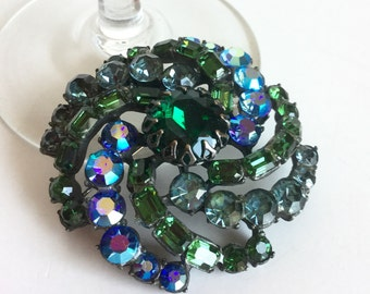 Green Pinwheel Brooch, Blue Faceted Glass Stones, AB Iridescent Rhinestones Emerald Green Peacock Blue, Vintage Large Statement by Claudette