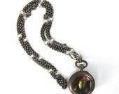 "Steampunk Genuine Sagra Beetle Necklace ""KAFKA CLOCK"" Art Nouveau Antique Pocket Watch Case Peacock Feather Sterling Silver Nouveau Motley"