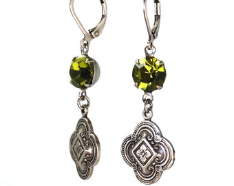 Royal Quatrefoil Earrings in Antiqued Silver with Peridot Green Swarovski Crystals Antique Victorian Renaissance Revival Style