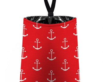 Car Trash Bag // Auto Trash Bag // Car Accessories // Car Litter Bag // Car Garbage Bag -  Anchors - Red White - Navy Sailor Nautical