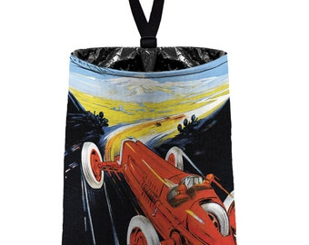 Car Trash Bag // Auto Trash Bag // Car Accessories // Car Litter Bag // Car Garbage Bag - Vintage Car Ad - Red Terza // Car Organizer