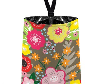 Car Trash Bag // Auto Trash Bag // Car Accessories // Car Litter Bag Car Garbage Bag - Floral Burst Taupe Car Organizer Flower Orange