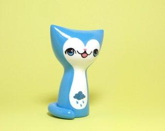 Rainy Day Kitty Figurine - Collectible Miniature Resin Figure