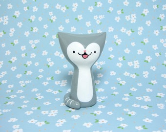 Gray Tuxedo Kitty Figurine - Collectible Miniature Resin Figure