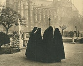 Vintage 1950s Postcard Albert Monier Art Card Paris France Nuns & Notre Dame Cathedral Black and White Photo Print Postally Unused