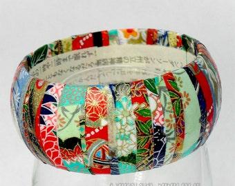 Wooden Bangle Bracelet - Washi Paper