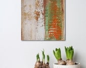 """Small Abstract Painting - Cantaloup 1 - textured acrylic on wood panel - paint scrape build up - 10x10"""" - Giftable Art - green and orange"""