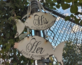 Wedding Chair Hangers, Her Lucky Fisherman, His Catch of a Lifetime, Wedding Signs, Chair Signs, Shabby Chic Wedding Signs, 2 Less Fish