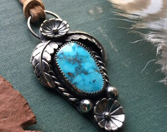 Double blossom | Turquoise Necklace | Turquoise Jewelry | Sterling Silver | Flowers | Feathers