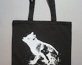 Fox tote, goth, fox tote bag, black bag, white fox, screenprinted bag, boho, alt, bohemian black white canvas tote