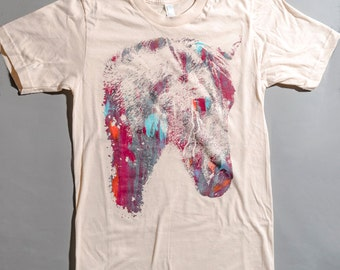 Horse t shirt, multicolor print, mens tee, OOAK t-shirt, creme t-shirt, horse t-shirt, 1AEON multicolor Crying Horse tee -  Size mens S