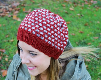 Red and Gray Slouchy Hat - Vegan Chunky Knit Tam Beanie - Winter Hat - Fall Hat - Boho Hat - Hipster Hat - Womens Gift - Gift for Her