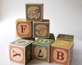 Set of Nine Vintage Wood Blocks