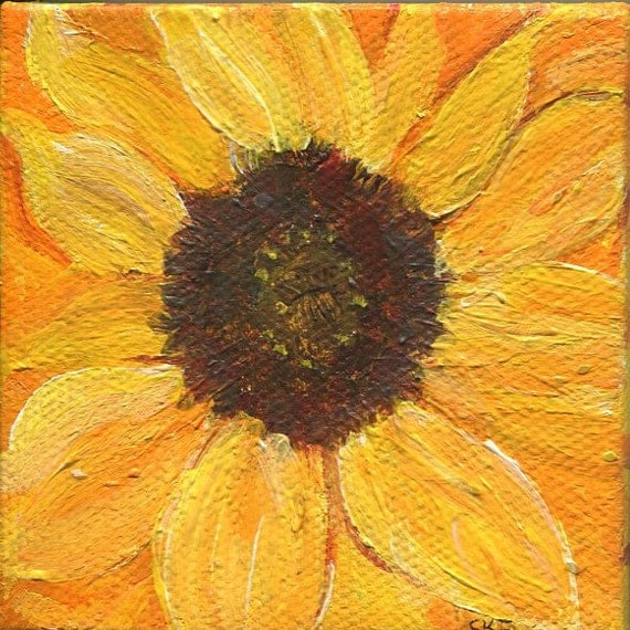 Sunflowers acrylic painting mini canvas art Original, easel, Small Yellow, Orange sunflowers painting, sunflowers floral decor