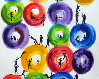 Watercolor Painting: How We Move in Circles