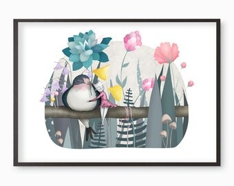 Thumbelina Cat and Swallow Art Print - Illustration drawing cats flowers nursery art  A4 / A3 / A5 / 8 x 10 giclee print