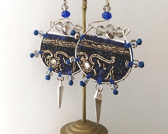 Antique Embroidery Earrings, Boho Earrings, Blue, Tarnished Silver, Dangle Earrings, Tribal, Antique Embroidery, Tattered, Hoops, Beaded