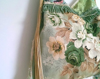 Tattered Green Floral Bag, Vintage Fabric, Vintage Sandersons, Frayed, Shopper, Large Bag, Fringe, Boho, Tassels, Shoulder Bag