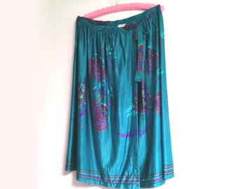 Vintage American Wrap Skirt, Blue, Abstract Flower Print, Blue, Pink, Red, Sirena, Size Large, Vintage Skirt