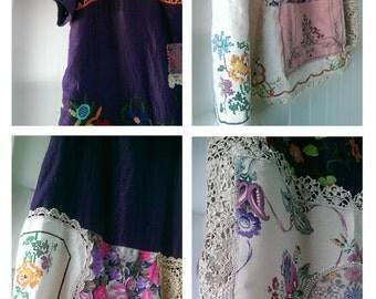 Frida Kahlo Dress, Peasant Dress, Vintage Doily, Purple, Flowers, Tunic, Embroidered, Boho, Folk, Rustic
