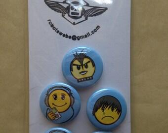 A set of (5) 1 inch Rocker Emoji buttons