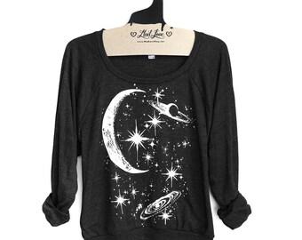 Medium- Charcoal Black Tri-Blend Sweatshirt with Crescent Moon Galaxy Print