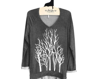 Medium - Charcoal SOFT V-Neck Long Sweater/Sweatshirt with Branch Trees Screen print