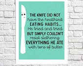Wall Art Quote Print For Kitchen Decor Dining Room Artwork Butter Knife Illustration Seafoam Green Kitchen Utensil Art Cute Idea For Kitchen