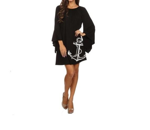Plus Size anchor Dress Women's Clothing Black Dress ruffled Nautical dresses cute tunic screen printed sailor clothing pin up 2XL 3XL sizes