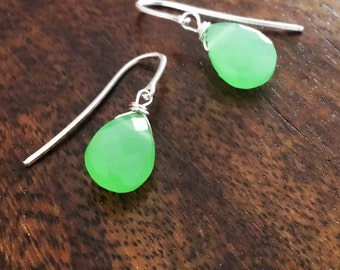 Dainty drop earrings, Sterling Silver mint green Chalcedony earrings, Anniversary gift for women, Gift for wife, Mothers day gift