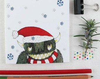 Christmas Card:  Deep Green Monster Santa