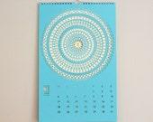 Laser Cut 2016 Wall Calendar (turquoise/pistachio)